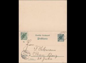 DSWA: Ganzsache mit Antwort von Swakopmund nach Bern 1901