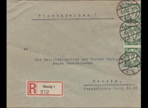 Danzig: Einschreiben Danzig 1929