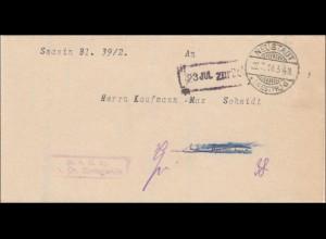 Danzig: Brief 1918 über Grundstückseintragung