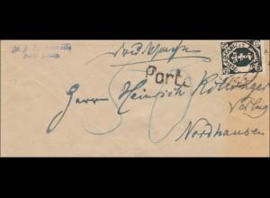 Danzig: Brief Buchhandlung nach Nordhausen, Porto, 1930