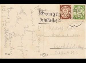 Danzig: Ansichtskarte Langebrücke mit Sternwarte 1937 nach Landshut
