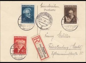 Danzig: Postkarte als Einschreiben von Zoppot nach Fürstenberg 1938