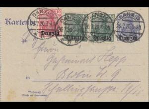 Danzig: Ganzsache Kartenbrief 1920 nach Berlin mit Inhalt Text