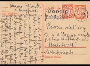 Danzig: Ganzsache 1934 nach Strelitz