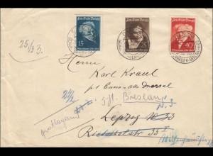 Danzig: Brief Danzig Sonderstempel Gedenkfeier nach Leipzig/Breslau 1938