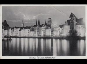 Danzig: Ansichtskarte Wahrzeichen1942 als Feldpost nach Aschaffenburg