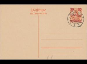 Danzig: Ganzsache P8 mit Stempel Danzig 1921 mit Blanko Antwort