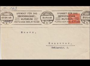 Oberschlesien: Hannover 1921 mit Werbestempel für Oberschlesier Hilfswerk