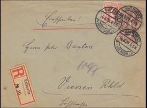 Oberschlesien: Einschreiben von Kattowitz 1920 nach Viersen