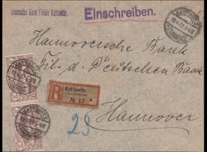 Oberschlesien: Einschreiben von Kattowitz 1922 nach Hannover