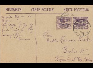 Oberschlesien: Postkarte Ratibor 1921 nach Berlin