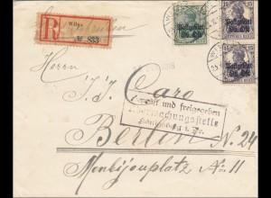 Polen: Einschreiben aus Wilna - geprüft - nach Berlin 1918