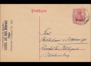 Polen: Ganzsache Feldpostadresse Biberach nach Stuttgart 1917