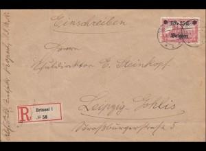 Belgien: Einschreiben mit MiNr. 8 als EF nach Leipzig 1916