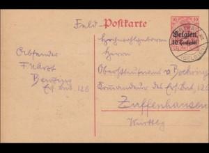 Belgien: Ganzsache Churtrai 1915 nach Zuffenhausen