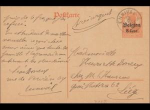 Belgien: Ganzsache von Ensival nach Liège 1917