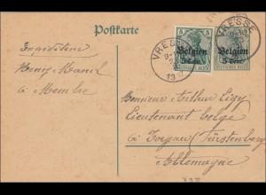 Belgien: Ganzsache von Vresse nach Torgau 1917