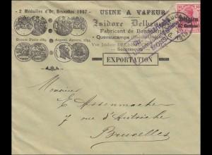 Belgien: Brief aus Quevaucamps nach Brüssel 1915, militärische Überwachung