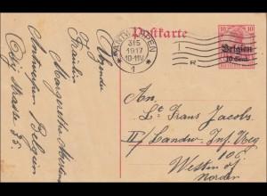 Belgien: Ganzsache von Antwerpen 1917