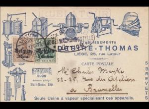 Belgien: Ansichstkarte Liége/Lüttich nach Brüssel 1917, Zensur