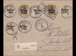Belgien: Brief aus Pepinster nach Berlin 1918 als Einschreiben