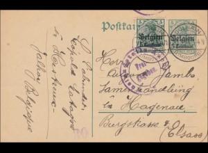 Belgien: Ganzsache von Dolhain nach Hegenau/Elsass 1916