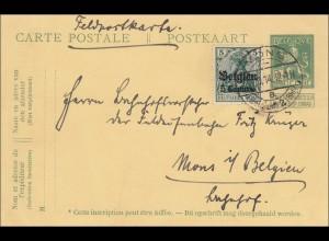 Belgien: Ganzsache von Mons 1914 als Feldpostkarte