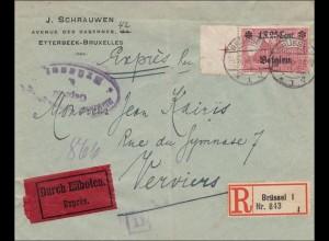 Belgien: Brief aus Brüssel als Eilboten/Einschreiben nach Verviers 1918