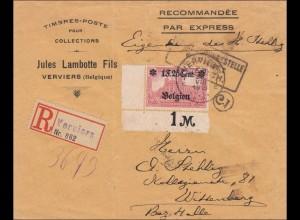 Belgien: Brief aus Verviers nach Wittenberg mit 23II EF, Eckrand 1918
