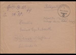 Feldpost II. Weltkrieg: 1944 FPNr. 28400 nach Pausa,