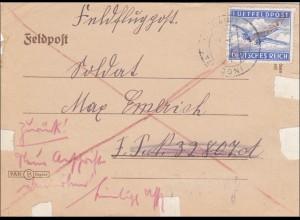 Feldpost II. Weltkrieg: Feldflugpost Ingolstadt an FPNr. 32807 und zurück 1944