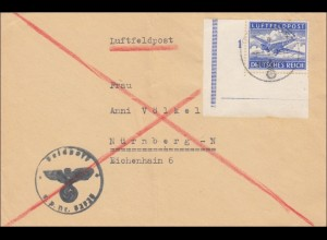Feldpost II. Weltkrieg: Eckrand Marke Luftfeldpost nach Nürnberg, Nr. 32723