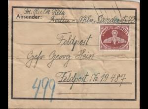 Feldpost II. Weltkrieg: Paketausschnitt von Berlin an FPNr. 19 487