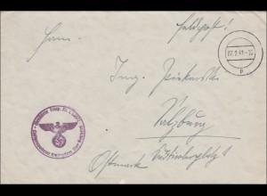 Feldpost II. Weltkrieg: 1941, Luftgaupostamt Amsterdam nach Salzburg, mit Inhalt