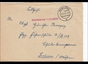 Feldpost II. Weltkrieg: Gerichtsoffizier 1942 aus Namslau nach Brünn