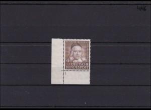 Bund MiNr. 173, ** postfrisch, Ecke mit spiegelverkehrter Formnummer