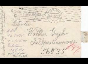 Feldpost II. Weltkrieg: Kempten Brief an FPNr. 56033, 1944, Ungarn Front