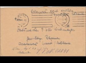 Feldpost II. Weltkrieg: Brief aus Wien 1943 an FPNr. 02841 mit Briefinhalt