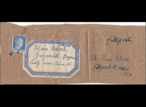 Feldpost: Paketausschnitt Bayreuth, Stempel: Bei Feldpost eingelierfert, 14 022