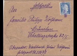 Feldpost II. Weltkrieg: Paketauschnitt von FPNr. 28677 nach München