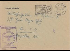 Frei durch Ablösung Reich,1944,Jugend aufs Meer Werbestempel,Deutsche Reichsbahn