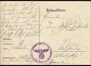 Feldpost II. Weltkrieg: Karte FPNr. 08 572 nach Salzburg 1941