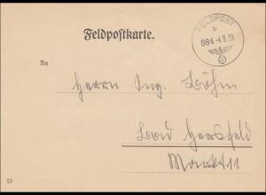 Feldpost II. WK Erste Kriegstage:4.9.1939 mit Infos über Postsammelstelle Kassel