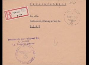 Feldpost II. Weltkrieg: Einschreiben 1942 von Brüssel nach Köln - Reichsbank