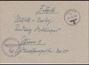 Feldpost II. Weltkrieg: Brief Luftgaupostamt Wien nach Wien 1941