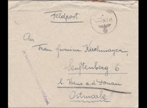 Feldpost II. WK: FPNr. 09 191 nach Senftenberg- Niederlausitz - unbekannt zurück