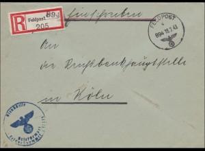 Feldpost II. Weltkrieg: Einschreiben Brüssel 1943 nach Köln