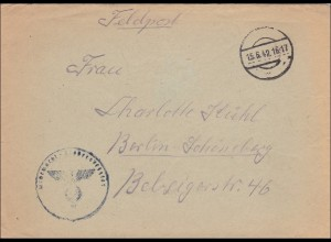 Feldpost II. Weltkrieg: Brief FPNr. 39884 nach Berlin - Stummer Stempel