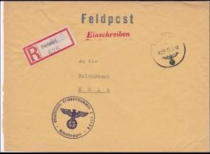 Feldpost II. WK: Einschreiben Brüssel FPNr. L 11156 nach Köln, Reichsbank 1942