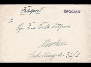 Feldpost II. Weltkrieg:Opoczno Nr. 32 076 Leitpunkt Breslau/Lodsch nach München